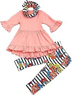 SUPEYA Baby Girls Long Sleeve Dress Tops Floral Print Leggings Suit Pants Outfits