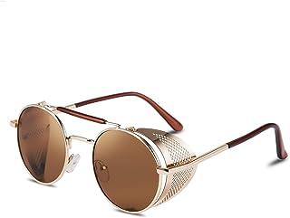 FEISEDY Steam Punk Sunglasses for Men Women Side Shield Round Steampunk Vintage Glasses Shades B2518