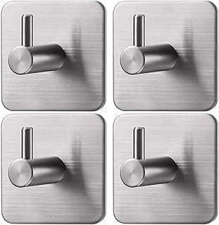 Ganchos de pared autoadhesivos de acero inoxidable de 4 piezas, Ganchos de Baño Adhesivos Conjuntos, Ganchos Ganchos Autoa...