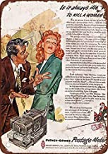 DKISEE Aluminum Safety Sign 1953 Sexist Pitney-Bowes Postage Meter Ad Vintage Look Reproduction Durable Rust Proof Warning Sign Aluminum Metal Sign 10