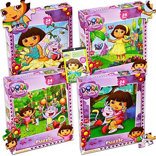 Dora the Explorer Puzzles Super Set ~ Bundle of 4 Dora Jigsaw Puzzles with Over 100 Bonus Dora Stickers (Dora the Explorer Party Supplies)