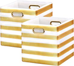 BAIST Cube Storage Bins,Nice Foldable Square Gold Fabric Decorative Cubby Storage Cubes Bins Baskets for Nursery Bedroom F...