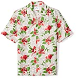 Amazon Brand - 28 Palms Men's Relaxed-Fit Silk/Linen Tropical Hawaiian Shirt, Grey/Fuchsia Tile Floral, X-Large