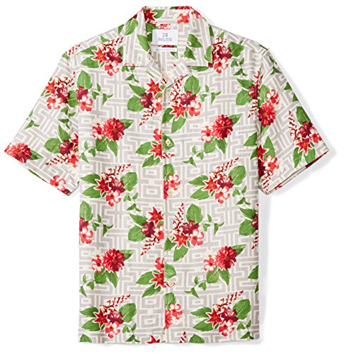 Amazon Brand - 28 Palms Men's Relaxed-Fit Silk/Linen Tropical Hawaiian Shirt, Grey/Fuchsia Tile Floral, Medium