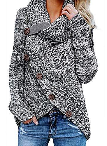 GOSOPIN Damen Pullover lose Pullis Langarm Oberteil Rollkragen Outwear S-XXL, Grau #4, M