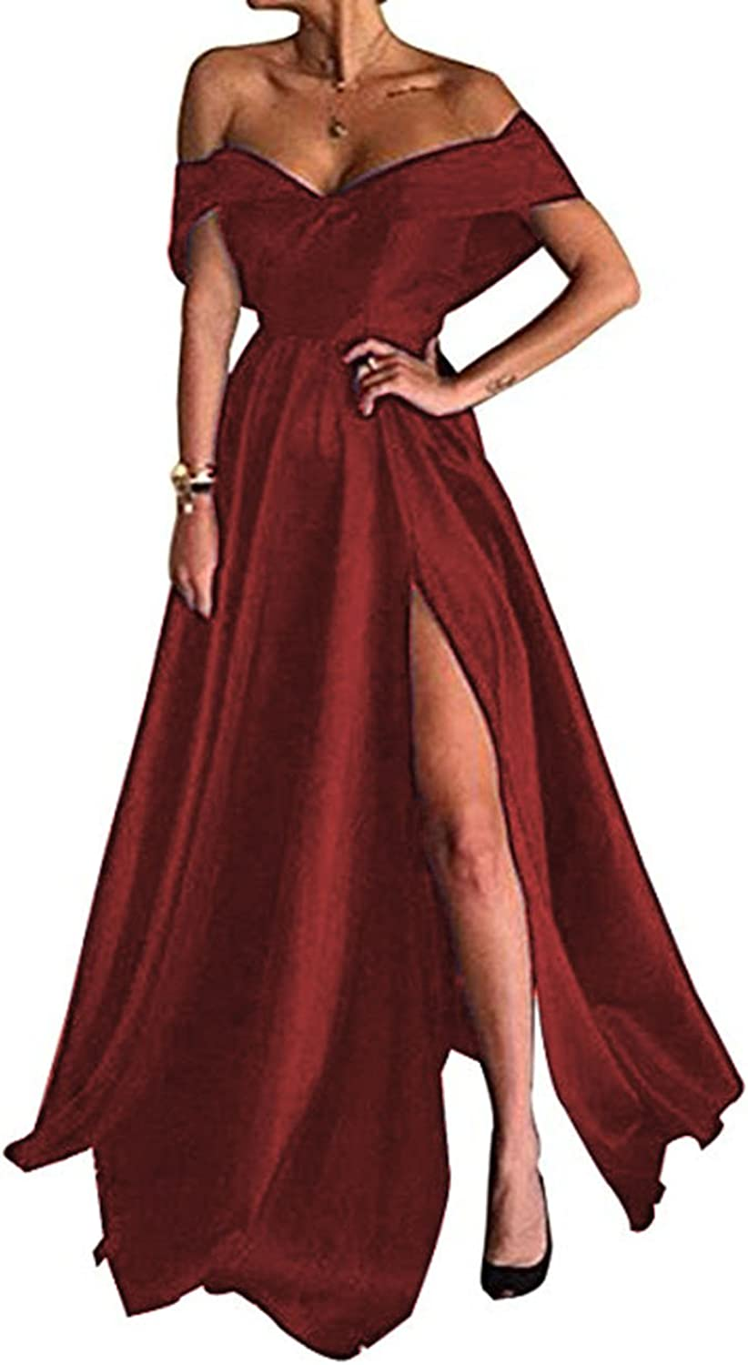 Beautydress Long Prom Dresses Satin Off The Shoulder High Split Evening Gowns for Women