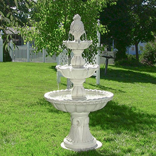 Sunnydaze Welcome Outdoor Water Fountain - 3-Tier Waterfall Fountain & Backyard Water Feature for Patio, Yard, Garden - 59 Inch Tall