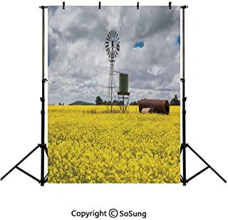 10x15Ft Vinyl Windmill Decor Backdrop for Photography,Canola Meadow Stormy Day Victorian Goldfields Agricultural Farmland Decorative Background Newborn Baby Photoshoot Portrait Studio Props Birthday P