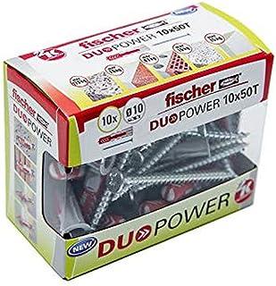 fischer - DuoPower pluggen 10X50 met schroeven, wandpluggen, universele pluggen, betonpluggen, 10 stuks doos