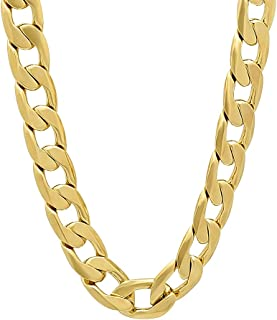 9.5mm 14k Gold Plated Beveled Cuban Link Curb Chain + Microfiber Jewelry Polishing Cloth