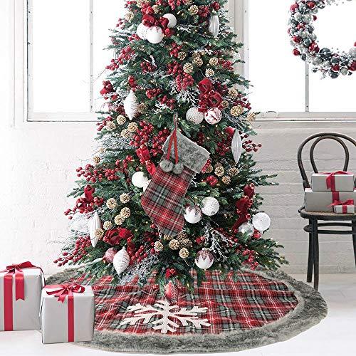 Ewolee Büffel-Schottenrock, Karierter Baumrock, traditioneller Look, rustikaler Weihnachtsbaum-Rock für Weihnachten, Party, Dekoration, Urlaub, Ornamente Typ 2