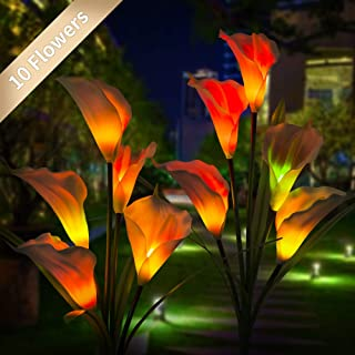 NOVEMBER SPRING Solar Flower Lights Outdoor Solar Garden Stake Lights with 10 Calla Lily Flower, Multi-Color Changing LED Solar Powered Lights for Garden, Patio, Yard Decoration (Purple & Red) 2 Pack