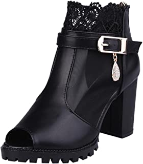 Summer Sandals, Women Metal Buckle Lace Zipper Fish Mouth Rough With High Heeled Sandals