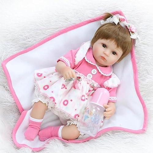 Realistische Reborn Babypuppen Simulation Silikon Tuch   Mit Kleid Cute Eye Girl Spielen Spielzeug Geschenk 42Cm