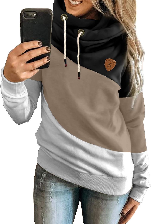 BLENCOT Women Casual Hoodies Cowl Neck Long Sleeve Color Block Fleece Hooded Pullover Drawstring Sweatshirt Tops