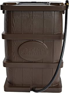 FCMP Outdoor WG4000-BRN Wood Grain Rain Barrel, Brown
