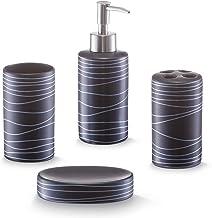 Zeller 18252 - Juego de accesorios para baño, 4 piezas, color negro