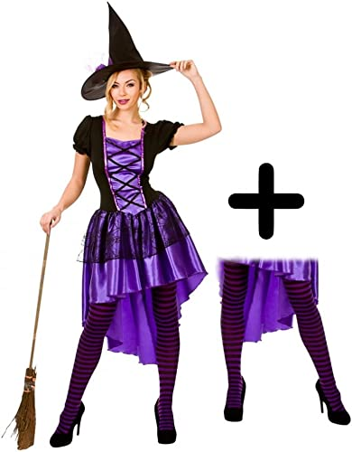 GlamGoldus Witch + Tights Ladies Halloween Fancy Dress Adults damen Costume (damen  6-8)