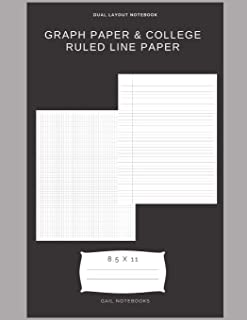 Graph paper & college ruled line paper: Dual layout notebook