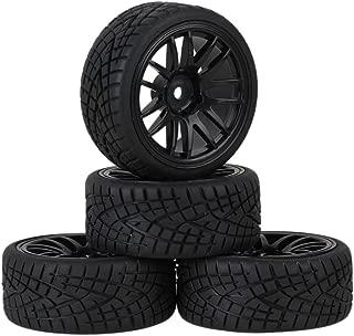 Mxfans 12mm Hex Black Plastic 14-Spoke Wheel Rims & Black Fish Pattern Rubber Tires RC 1:10 On Road Racing Car Pack of 4