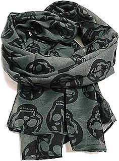 KUSTOM FACTORY - Foulard da donna nero Skull, grigio e nero, 50 x 160 cm