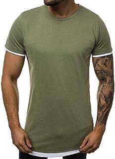 Abeaicoc Men's Zip with Crew Casual Deco Neck Contrast Short Sleeve T-Shirt Tee Top