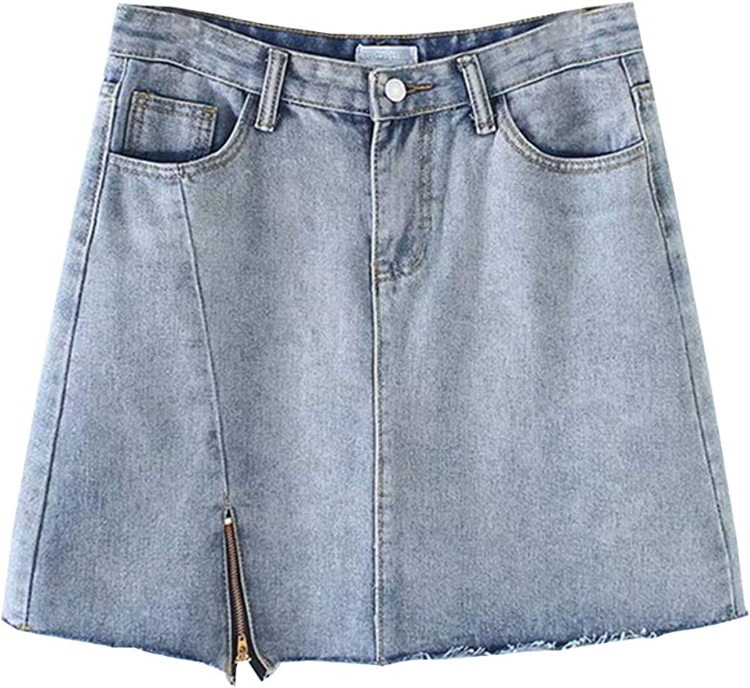 Hixiaohe Womens Juniors Casual Loose High Waist Bodycon Denim Skirt with Pockets