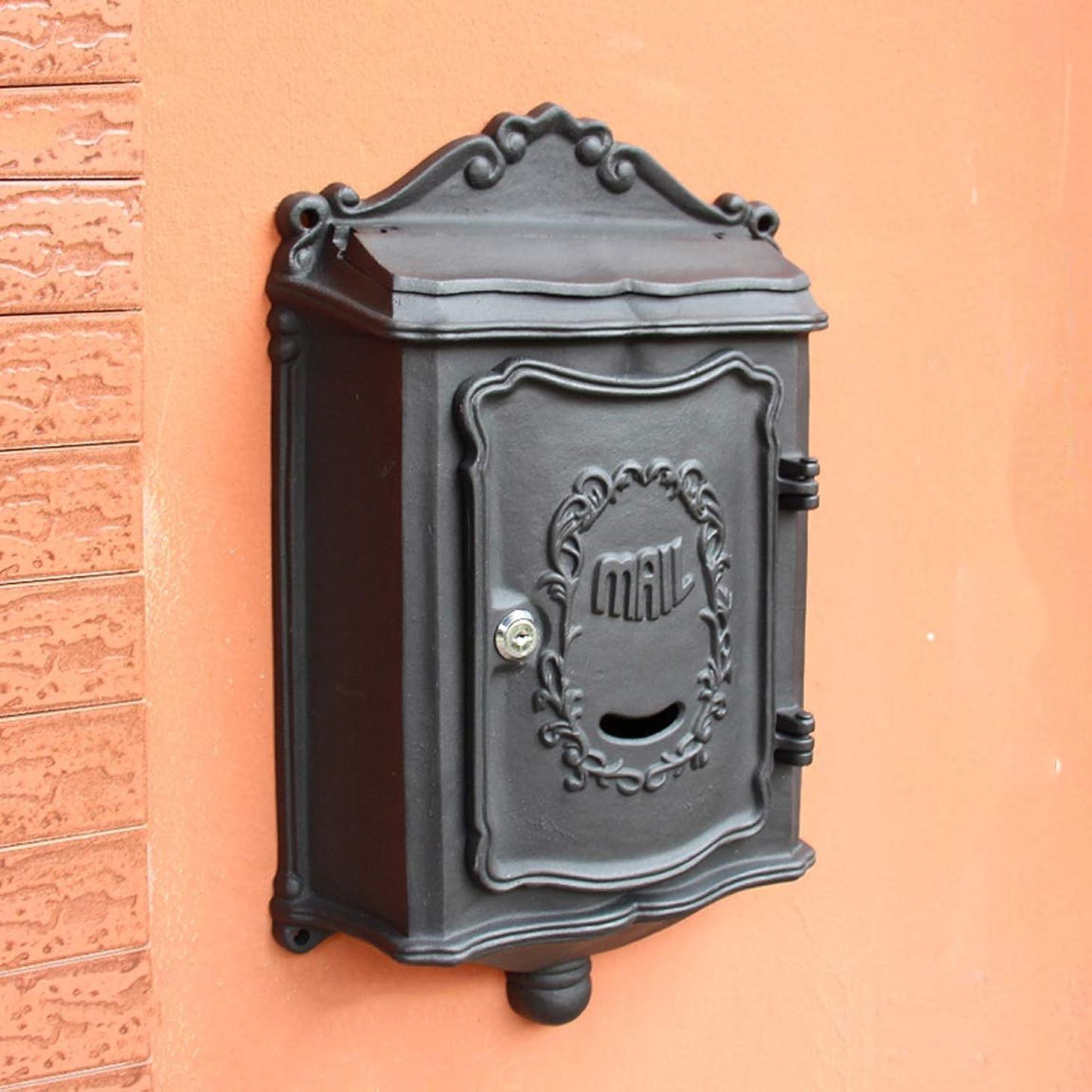 誤って眠っているやめるHLQW ヴィラ郵便箱屋外の壁掛けヨーロッパのレトロメールボックスブラック