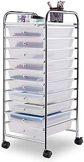 Giantex 10 Drawer Rolling Storage Cart Scrapbook Paper Office School Organizer (Clear)