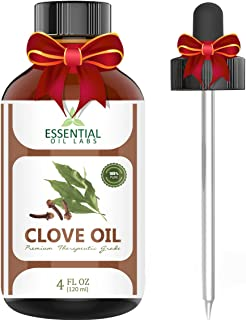 Clove Oil - 100% Pure and Natural - 4 Oz. with Glass Dropper - Therapeutic Grade by Essential Oil Labs