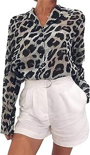 SOMTHRON Women's Oversize Long Sleeve Cheetah Graphic Blouse Tops Animal Printed Leopard Button Up Chiffon Dress Shirt