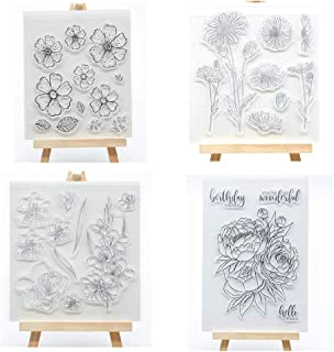 Welcome to Joyful Home 4pcs/Set Flower Series Clear Stamp for Card Making Decoration and Scrapbooking