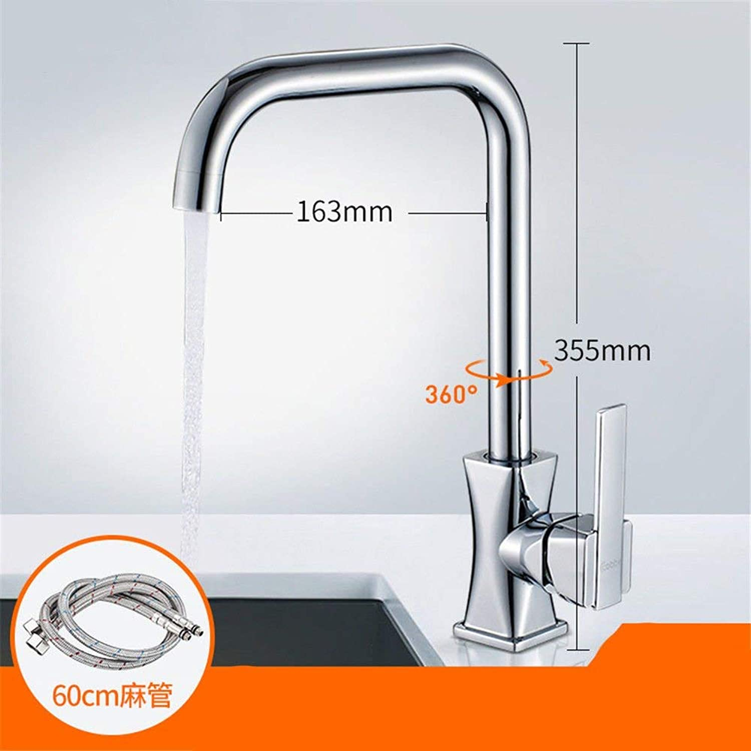 FERZA home Sink Mixer Tap Bathroom Kitchen Basin Water Tap Leakproof Save Water Hot And Cold Water Tap Slot Lcd Flash Plated Single Cold Tap A Home (color   C)