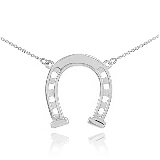 Azaggi Sterling Sillver Handcrafted Good Luck Horseshoe Jump Ring Pendant Necklace 24