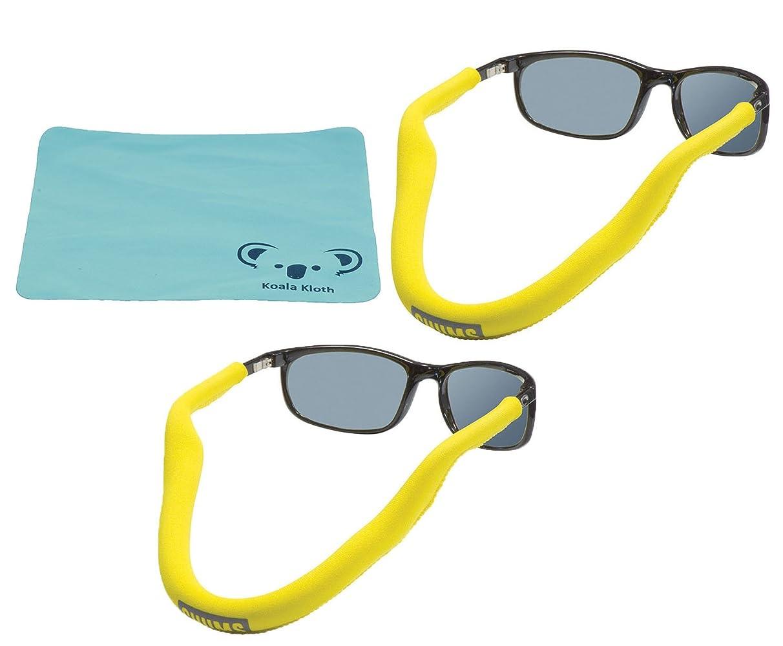 Koala Lifestyle Chums Floating Neoprene Eyewear Retainer Sunglass Strap | Eyeglass & Glasses Float | Water Sports Holder Keeper Lanyard | 2pk Bundle + Cloth