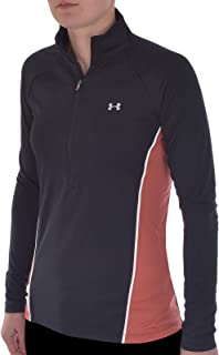 Under Armour UA Womens Tech 2.0 1/2 Zip Gym Training Top - Black/Coral