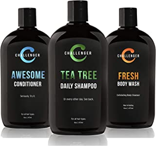 Challenger Men's Tea Tree Shampoo, Conditioner, & Fresh Body Wash Trio, 3X 16 Oz Bottles | Sulfate Free w/ Vitamins, Argan...