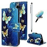 für Samsung Galaxy J6 (2018) Hülle Leder Handyhülle Flip Hülle PU Tasche Wallet Schutzhülle Bookstyle Ständer Kartensätze Magnetisch Handytasche und Eingabestift und Staubstecker Blauer Schmetterling