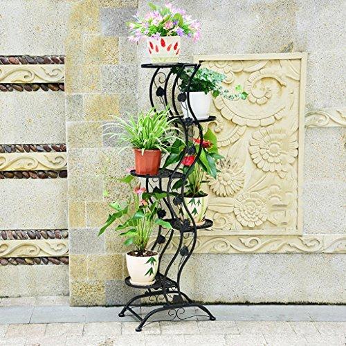 Étagère à fleurs en Europe fleur créative intérieure balançoire plancher vert Chlorophytum multi-couche puits (Couleur : Noir, taille : 45 * 27 * 140cm)