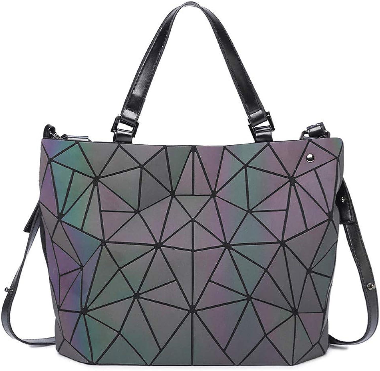 JQSM Luminous Women Bags Diamond Tote Geometry Ladies Shoulder Bags Laser Plain Folding Handbags Totes Female Purse