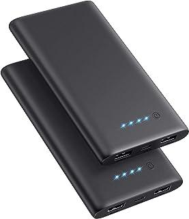 【2 Pack】10000mAh Power Bank Caricabatterie Portatile, Ultra Sottile Caricatore Portatile con 2 Porte Batteria Portatile Ri...