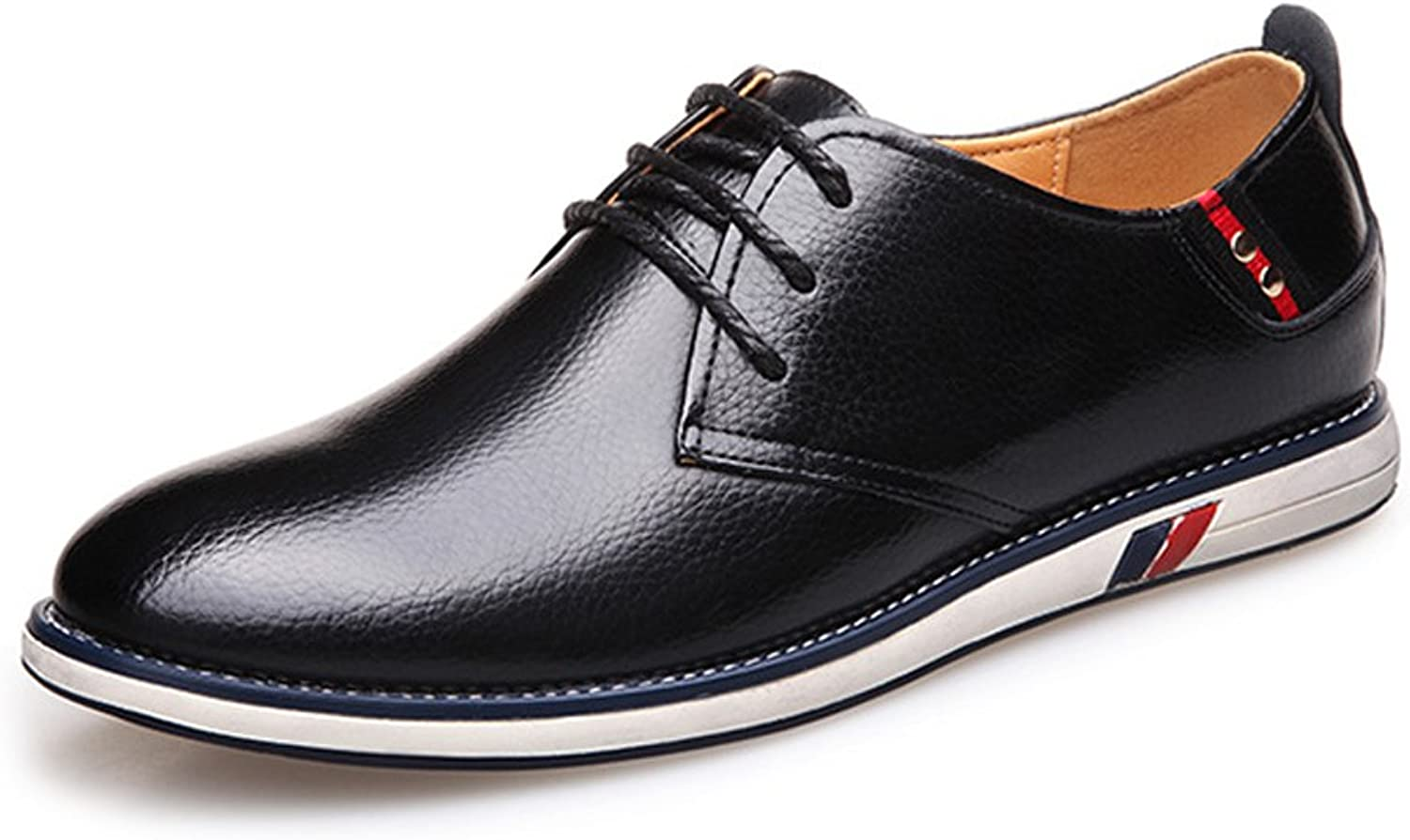 XHD- Classic shoes Classic Simple Men's shoes Genuine Cowhide Leather Upper Lace Up Flat Sole Loafer for Gentlemen