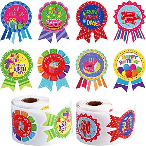 400 Stück Happy Birthday Rollen Aufkleber, It's My Birthday Button Aufkleber Bunte Medaille Geformte Verschiedene Dekorative Aufkleber Etiketten für Kinder Geburtstagsfeier Zuhause Klassenzimmer