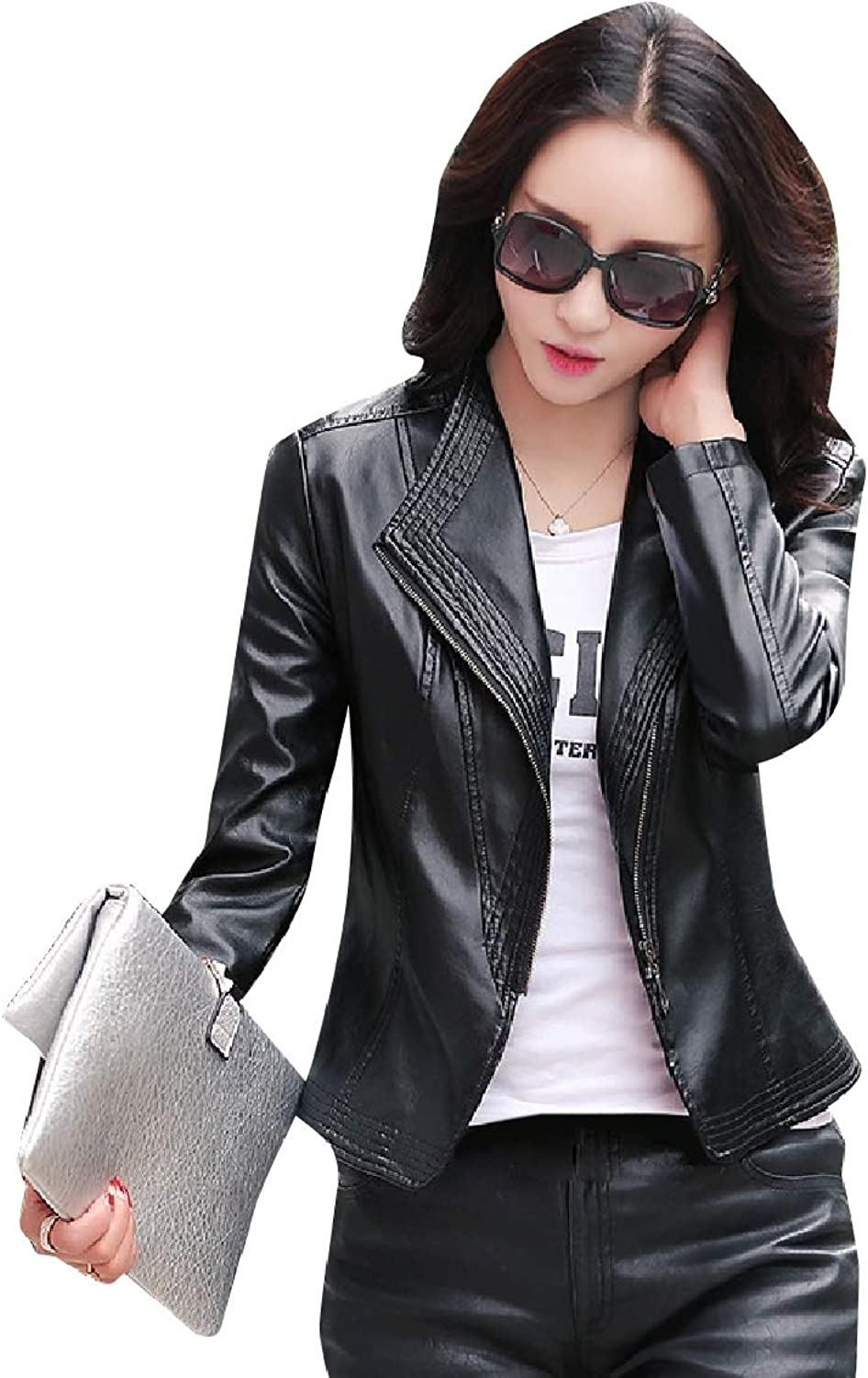 FreelyWomen Skinny Motorcycle Leather Windproof Outwear Coat Jacket