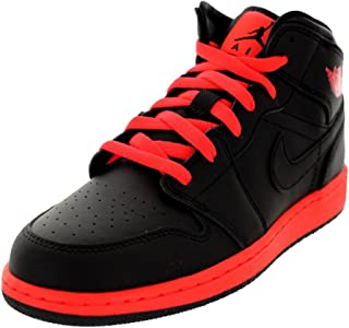 b6ab28dba88677 Jordan Nike Kids Air 1 Mid BG Black Black Infrared 23 Basketball Shoe 7