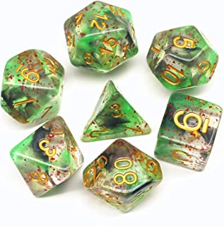 HD Dice DND Dice Set Green Black RPG Dice Fit Dungeons and Dragons D&D Pathfinder MTG Role Playing Games Polyhedral Transparent Dice with Dice Bag