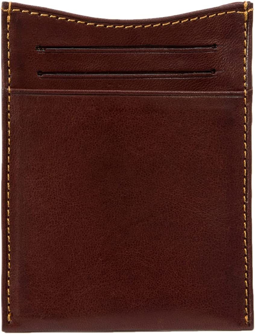 Mens Minimalist Front Pocket Money Clip Wallet & Card Holder Italian Leather (Brown, Non-Personalized)