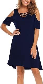 Women Summer Cold Shoulder Criss Cross Neckline Short Sleeve Casual Tunic Top Dress (S-3XL)
