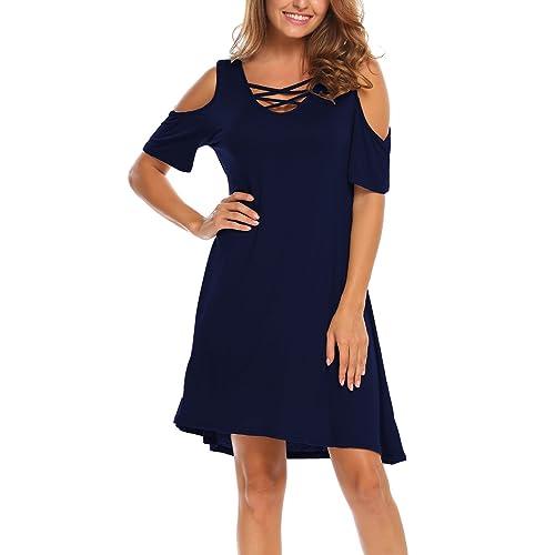 e9d1e90505334 BLUETIME Women Summer Cold Shoulder Criss Cross Neckline Short Sleeve  Casual Tunic Top Dress (S