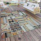 Paco Home In- & Outdoor Teppich Modern Ethno Muster Terrassen Teppich Wetterfest Bunt, Grösse:120x170 cm